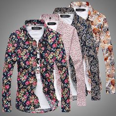 Fashion Mens Luxury Stylish Floral Slim Fit Long Sleeve Dress Shirt Casual Tops in Clothing, Shoes & Accessories, Men's Clothing, Casual Shirts | eBay