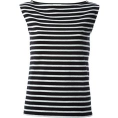 Saint Laurent striped tank top (1.925 BRL) ❤ liked on Polyvore featuring tops, black, striped tank, striped top, stripe tank, sleeveless striped top and sleeveless tank