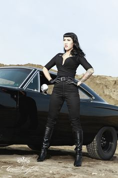 """Faster, Pussycat! Kill! Kill! Tura Satana Tribute with Lou on the Rock's for the upcoming """"Girls & legendary US-Cars"""" 2016 Calendar by Carlos Kella / SWAY Books / Thanks to Helge Thomsen (Motoraver) / Preorder your limited calendar at www.sway-books.de"""
