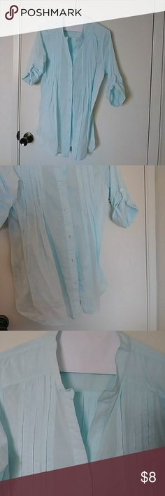 Crepe style rolled sleeve button down shirt Like new light teal crepe style and button sleeves featuring priest collared open neck line gathered front and back and flowing split sides great with jeans or leggings, can be casual or dressey. Fresh Produce Tops