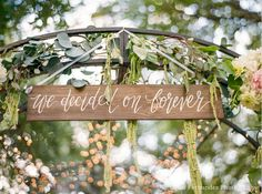 We Decided on Forever Sign, Rustic Wooden Wedding Sign, Photo Prop Sign, Ceremony Decor, Rustic Wall Art on Etsy, $29.99