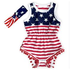 Lil Miss American Baby Girl July 4th, Memorial Day Pom Pom Romper