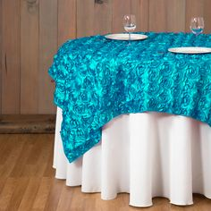 72 in. Square Rosette Satin Overlay Turquoise