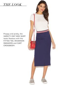 The Varsity Knit Midi gives off a preppy vibe with its color scheme and cut. Style it with anything from basic tees to bold blouses, depending on your plans.