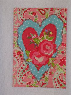 HEART Kitschy Fabric Postcard Art Quilt Fabric by postquilts, $6.50