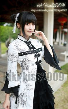 China Waloli Cheongsam Ink Fairy HanFu Black&White Cosplay Kimono Lolita Dress  #Handmade #Blouse