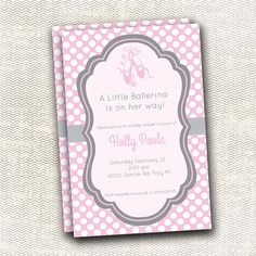Gray and Pink Ballerina Baby shower Invitation by PerfectHostess