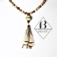 Beaded Choker Necklace with Tan Suede and Feather ~ ~ ~ ~ #18eleven #18elevenjewelry #jotd  #jewelry #necklaces #handmade  #ilovejewelry #accessories #jewelrydesigner #jewelrylove #summer #jewels #chokers #jewelryobsession #tassels #layering #pendants #jewelryoftheday #boutiques #etsy #etsyshop #fashion #fashionista #summerstyle #gemstones #shoplocal #beaded necklace #necklace pendant Tassel