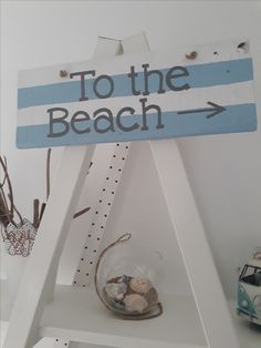 To the beach. Hand made and painted rustic wall sign, in blue and white Available at Etsy The Painted Shack Store Upcycled Furniture, Painted Furniture, Wall Signs, Shabby Chic, Blue And White, Colours, Rustic, Trending Outfits, Store