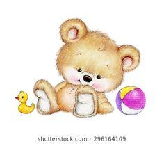 Cute Teddy bear with toys