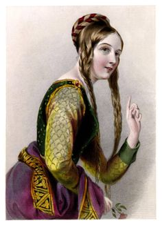 I was expecting Eleanor of Aquitaine to be in a much more ferocious pose and outfit - this must be a very young Eleanor.    (Image from Biographical Sketches of the Queens of Great Britain, from the Norman Conquest to the Reign of Victoria, or Royal Book of Beauty)