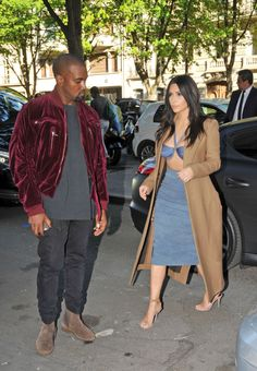 Kim Kardashian & Kanye West are seen out shopping in paris at The Montaigne Market in Paris on April 14, 2015.