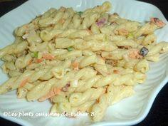 Les plats cuisinés de Esther B: Salade de pâtes Esther, Pasta Salad, Shrimp, Restaurants, Favorite Recipes, Meat, Ethnic Recipes, Al Dente, Dressing