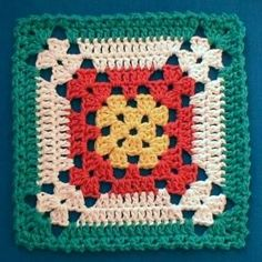 Crochet Granny Square Patterns Nina's At My House: Free Crochet Pattern Motifs Granny Square, Granny Square Blanket, Crochet Blocks, Granny Square Crochet Pattern, Crochet Squares, Crochet Motif, Crochet Stitches, Free Crochet, Crochet Patterns