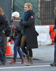 6c95d693018f1 Cameron Diaz in denim shorts and thick pantyhose NY Nov 12, 2013 Canada  Goose Jackets