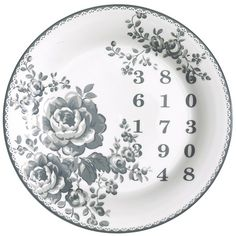 GreenGate Ceramic Plate Audrey Grey D 20,5 cm