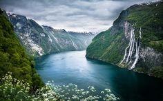Seven Sisters Waterway in Norway