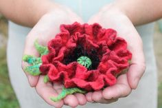 Red Poppy / Felt flower brooch / Wool Felt Jewelry / Felted flower with green leaves / shades red by TaniaSh on Etsy https://www.etsy.com/listing/98139781/red-poppy-felt-flower-brooch-wool-felt