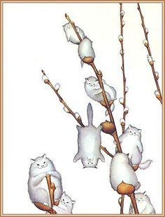 Willowy Kitties, by morreth on LJ cute whimsical illustration of willow catkins made of cats Animals Watercolor, Art Mignon, Illustration Art, Illustrations, Cat Drawing, Pics Art, Crazy Cats, Cat Art, Cats And Kittens