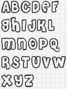 Cross stitch alphabet pattern bubble letters - Crochet / knit / stitch charts and graphs Cross Stitch Alphabet Patterns, Cross Stitch Letters, Cute Cross Stitch, Cross Stitch Charts, Cross Stitch Designs, Stitch Patterns, Cross Stitch Font, Alphabet Charts, Font Alphabet