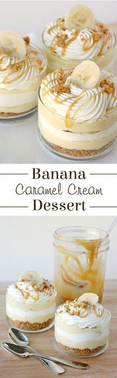 The most AMAZING dessert ever! Sweet, creamy, crunchy... this Banana Caramel Cream Dessert has it all!
