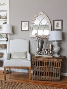 Neutral decorating - love the texture the basket adds eclecticallyvintage.com - Can see this in our living room with the walls a warmer neutral & green chair