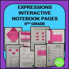 Expressions Interactive Notebook: This is a set interactive notebook pages for expressions that addresses standards 6.EE.1, 6.EE.2, 6.EE.3, and 6.EE.4.Skills covered include: Identify parts of an expression Identify parts of a power Differentiate between expression, equations, an inequalities Differentiate between numeric and algebraic expressions Apply the order of operations Identify the first step in simplifying numerical expressions Evaluate algebraic expressions given a value or values Simp...