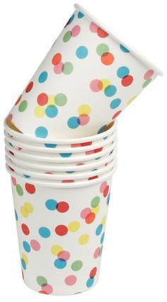 Vaisselle pois multicolores en carton Pique-nique ou anniversaire
