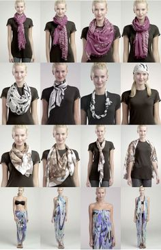 How to tie a scarf: 4 scarves, 16 ways.