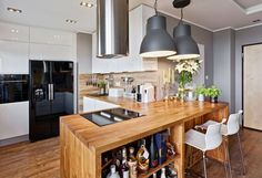 kitchen worktop, bar and solid wood credenza and black appliances Kitchen Dinning Room, Loft Kitchen, Small Kitchen Storage, Kitchen Living, Cheap Dining Table Sets, Cheap Table And Chairs, Modern Kitchens With Peninsulas, Kitchen Islands For Sale, Modern Kitchen Furniture