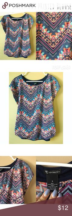 New Directions printed blouse - Size S. - I do not trade.  - I ship everyday except for Sunday or holidays.  - Thanks for checking out my closet! Happy poshing. 💜 new directions Tops Blouses