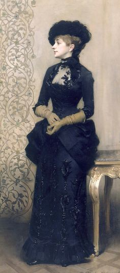 oldoils:  Woman wearing gloves, also known as The Parisienne - oil on canvas, 1883   Charles-Alexandre Giron   Please follow me: http://antonioedsoncadengue.tumblr.com/archive