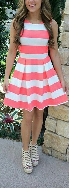 Salmon pink ans white striped short dresa, great for formal occasions