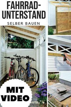 Diesen praktischen Anlehn-Fahrradschuppen kannst du einfach an Hausfassade, Gartenhaus oder Garage anbauen!