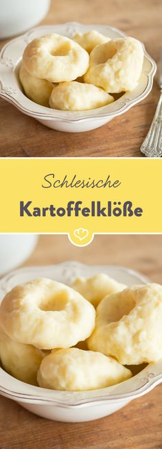 Silesian potato dumplings- Schlesische Kartoffelklöße It takes just 3 ingredients to conjure up this Silesian delicacy on the table. Burger Recipes, Potato Recipes, Grilling Recipes, Vegetable Recipes, Vegetarian Recipes, Aquafaba Recipes, Benefits Of Potatoes, Good Food, Yummy Food