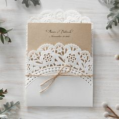 Craft Brown Lace Pocket Vintage Wedding Invitations - BH 5010 | ItsInvitation
