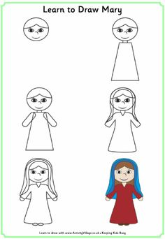 drawings for mom from kids easy | View and print Learn to draw Mary (pdf)