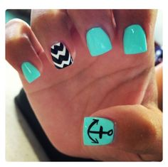 50 Cool Anchor Nail Art Designs : Green Nails with an Anchor Accented. - 50 Cool Anchor Nail Art Designs : Green Nails with an Anchor Accented. – 50 Cool An - Love Nails, Pretty Nails, Anchor Nail Art, Cruise Nails, Cute Nail Designs, Anchor Nail Designs, Chevron Nail Designs, Summer Nail Designs, Beach Nail Designs