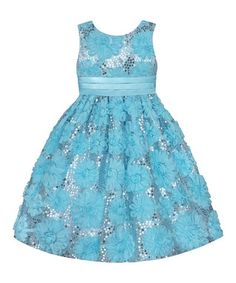 Easter Blue Sequin Floral Dress - Toddler & Girls