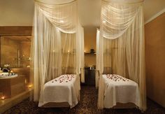 use sheer drapery to add a soft touch to massage room (no pun intended - lol) www.spaarabat.com Rabat Spa Selection
