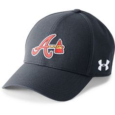 Men's Under Armour Atlanta Braves Driving Adjustable Cap ($30) ❤ liked on Polyvore featuring men's fashion, men's accessories, men's hats, navy alt, mens hats, mens caps and mens caps and hats
