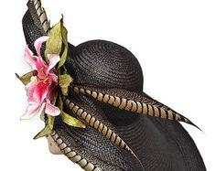 ALÓN negro Kentucky Derby Hat sombrero de por MakowskyMillinery