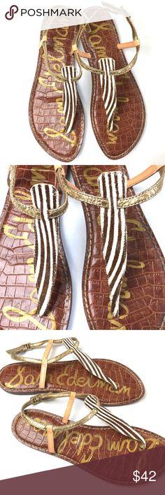 Sam Edelman 'Gigi' Zebra Gold Sandals Sam Edelman 'Gigi' Zebra Gold Sandals. Leather upper. Excellent condition. Only worn a few times. Size 8.5 Sam Edelman Shoes Sandals