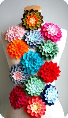 Felt Dahlia Flower Brooches I love them all!