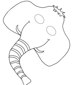 Black and white picture of elephant mask Would be cute