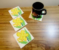 Jonquil Floral Coasters. Jonquil daffodil family Beverage