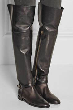 Burberry Shoes & Accessories|Leather over-the-knee boots|NET-A-PORTER.COM