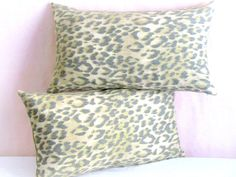 Lumbar Leopard throw pillow cover  12x20  Linen by SABDECO on Etsy