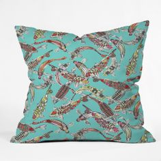 Sharon Turner Lucky Koi Throw Pillow | DENY Designs Home Accessories