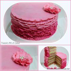 Veena's Art of Cakes: Buttercream Ruffle Cake Video Tutorial